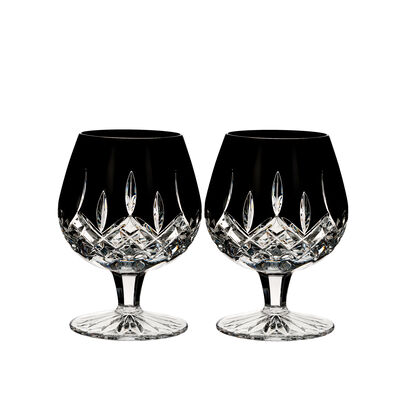 "Waterford Crystal ""Black"" Set of 2 Lismore Brandy Glasses"