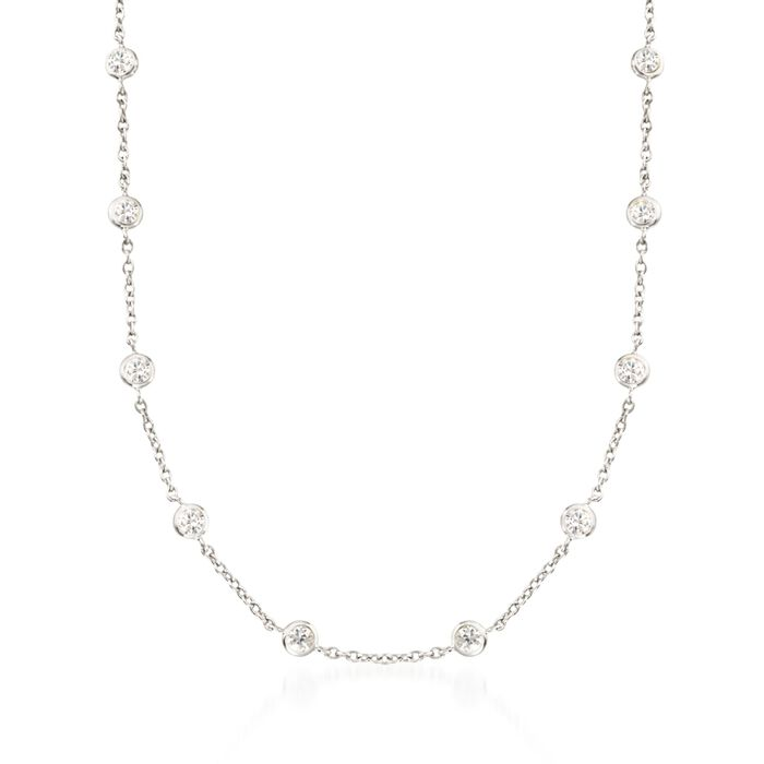 4.50 ct. t.w. Bezel-Set CZ Station Necklace in Sterling Silver