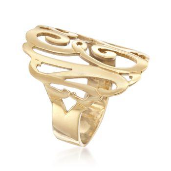 24kt Gold Over Sterling Silver Open Script Monogram Ring, , default