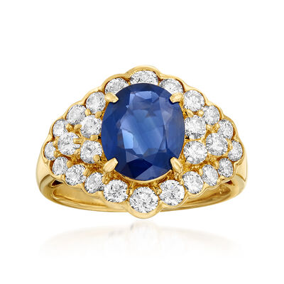 C. 1980 Vintage 2.69 Carat Sapphire and 1.36 ct. t.w. Diamond Ring in 18kt Yellow Gold, , default