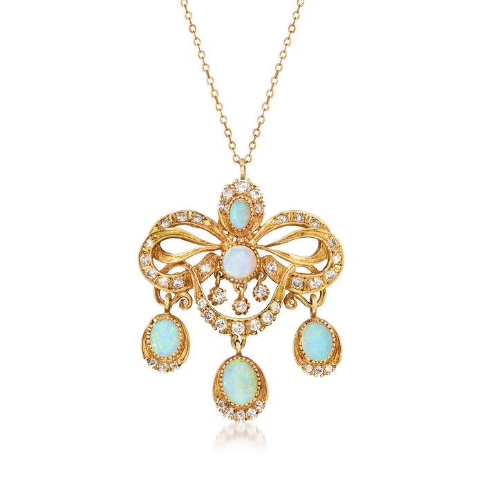 """C. 1970 Vintage Opal and 1.60 ct. t.w. Diamond Fancy Pendant Necklace in 14kt Yellow Gold. 18"""", , default"""