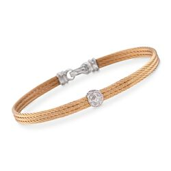 "ALOR ""Classique"" Diamond Station Yellow Cable Bracelet With 18kt White Gold. 7"", , default"