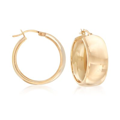 18kt Gold Over Sterling Wide Hoop Earrings, , default