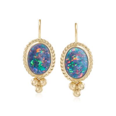 Blue Opal Triple Drop Earrings in 14kt Yellow Gold , , default