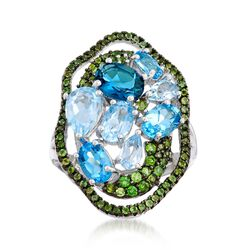 3.30 ct. t.w. Blue Topaz and .70 ct. t.w. Chrome Diopside Cluster Ring in Sterling Silver, , default