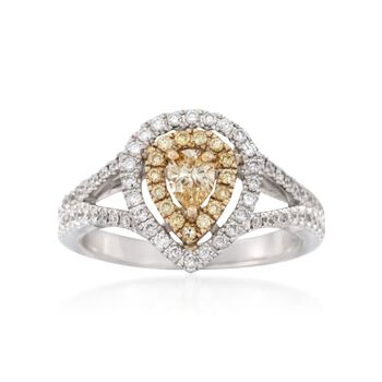 1.02 ct. t.w. Fancy Yellow and White Diamond Engagement Ring in 18kt Two-Tone Gold, , default