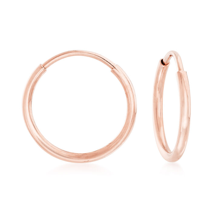 "1mm 14kt Rose Gold Endless Hoop Earrings. 3/8"", , default"
