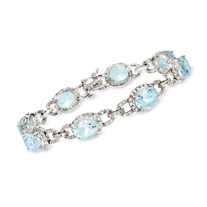 "19.00 ct. t.w. Aquamarine and 1.80 ct. t.w. Diamond Bracelet in 14kt White Gold. 7.5"", , default"