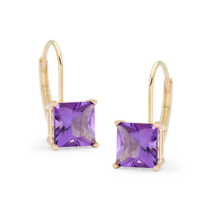 1.80 ct. t.w. Amethyst Earrings in 14kt Yellow Gold, , default
