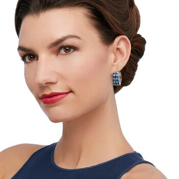 "7.60 ct. t.w. Blue Topaz and .23 ct. t.w. Diamond Hoop Earrings in Sterling Silver. 1"", , default"