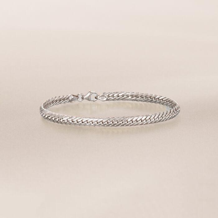 Italian 14kt White Gold Cuban-Link Bracelet