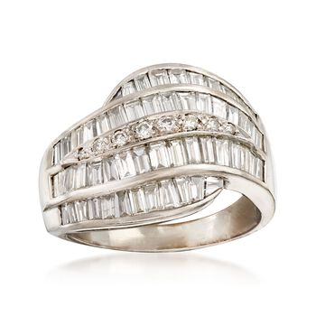 C. 1990 Vintage 2.40 ct. t.w. Baguette and Round Diamond Wave Ring in 18kt White Gold. Size 7, , default