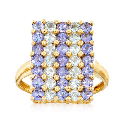C. 1990 Vintage 1.25 ct. t.w. Tanzanite and 1.10 ct. t.w. Aquamarine Grid Ring in 14kt Yellow Gold, , default