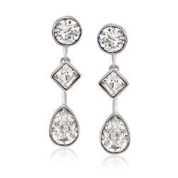 """Swarovski Crystal """"Folk"""" Crystal Jewelry Set: Earrings and Earring Jackets in Silvertone, , default"""