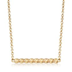 Italian 14kt Yellow Gold Beaded Bar Necklace, , default
