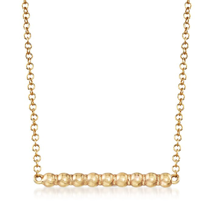 Italian 14kt Yellow Gold Beaded Bar Necklace, , default