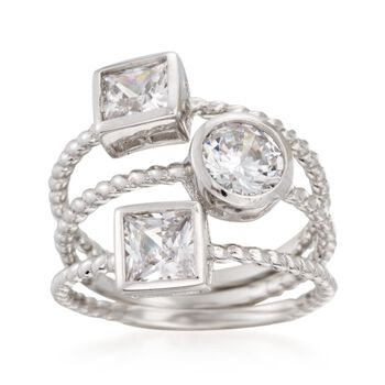 2.00 ct. t.w. CZ Jewelry Set: Three Stacking Rings in Sterling Silver, , default