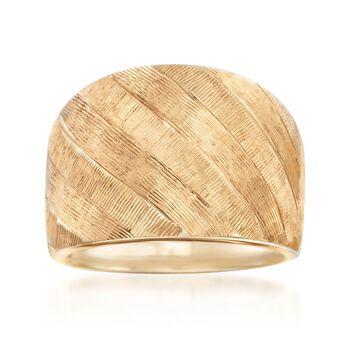 Italian 14kt Yellow Gold Crosshatch Ring, , default