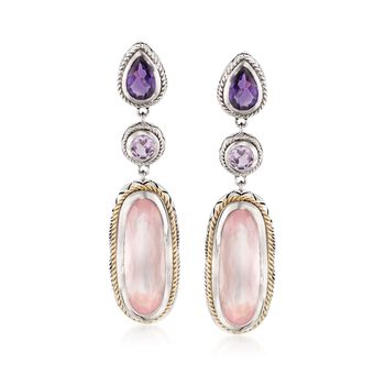 "Andrea Candela ""Dulce-Baya"" Rose Quartz and 1.40 ct. t.w. Pink and Purple Amethyst Earrings in Two-Tone, , default"