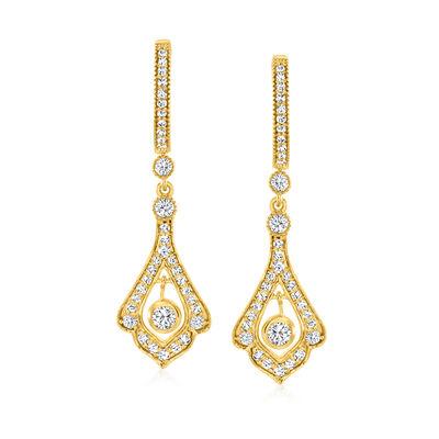 .75 ct. t.w. Diamond Hoop Drop Earrings in 18kt Gold Over Sterling