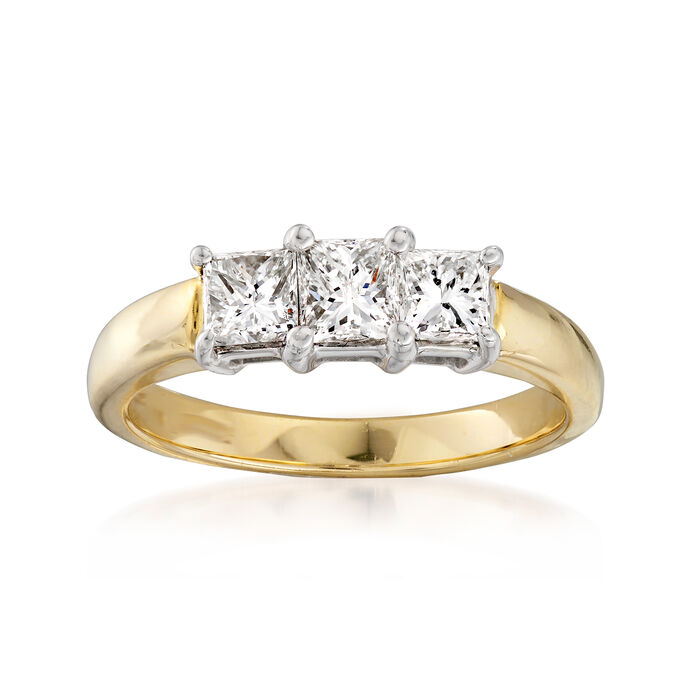 C. 1980 Vintage 1.10 ct. t.w. Diamond Ring in 14kt Yellow Gold. Size 7, , default