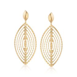 Italian 18kt Yellow Gold Open Diamond-Cut Marquise Drop Earrings, , default
