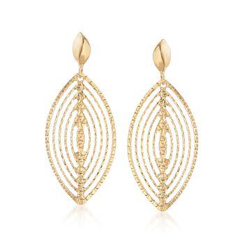 Italian 18kt Yellow Gold Open Diamond-Cut Marquise Drop Earrings, , default