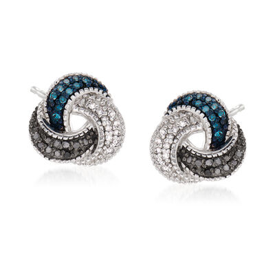 .25 ct. t.w. Blue, Black and White Diamond Love Knot Earrings in Sterling Silver