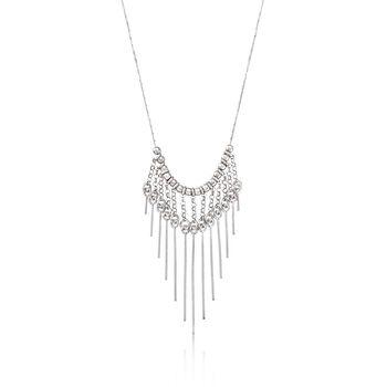 Italian Sterling Silver Graduated Bar Drop Necklace, , default