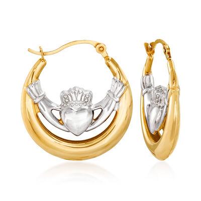 14kt Two-Tone Gold Claddagh Hoop Earrings