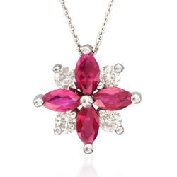 ".80 ct. t.w. Ruby and .20 ct. t.w. Diamond Burst Pendant Necklace in 14kt White Gold. 18"", , default"