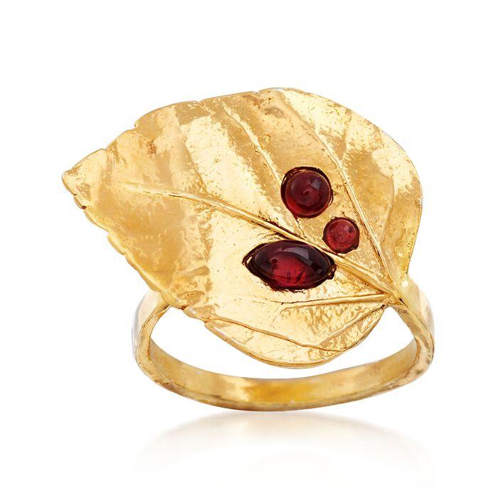 .70 ct. t.w. Garnet Leaf Ring in 18kt Gold Over Sterling, , default