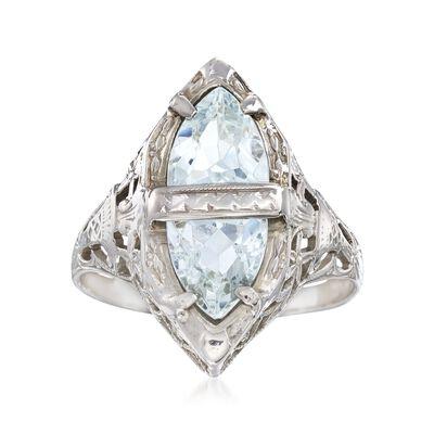 C. 1950 Vintage 1.25 ct. t.w. Aquamarine Filigree Navette Ring in 14kt White Gold, , default