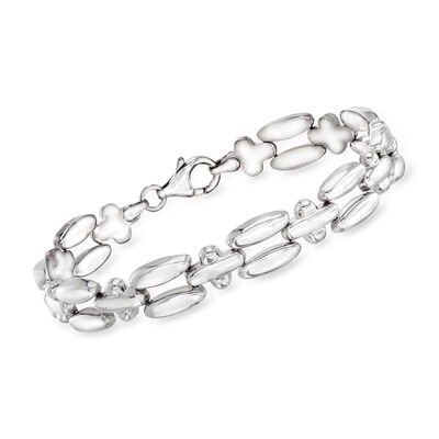 Italian Sterling Silver Link Bracelet, , default