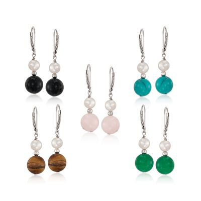 Multi-Stone and 6-6.5mm Cultured Pearl Jewelry Set: Five Pairs of Earrings in Sterling Silver, , default