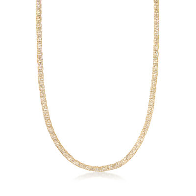 Italian 37.50 ct. t.w. CZ Mesh Necklace in 14kt Yellow Gold, , default