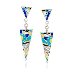"Belle Etoile ""Constellations: Nairobi"" Turquoise-Blue Enamel Earrings With .11 ct. t.w. CZs in Sterling, , default"
