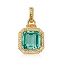 Judith Ripka 10.75 Carat Aqua Spinel and .26 ct. t.w. Diamond Pendant in 18kt Yellow Gold , , default
