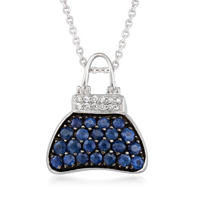 C. 1990 Vintage Movado 1.00 ct. t.w. Sapphire Purse Pendant Necklace with Diamond Accents in 18kt White Gold