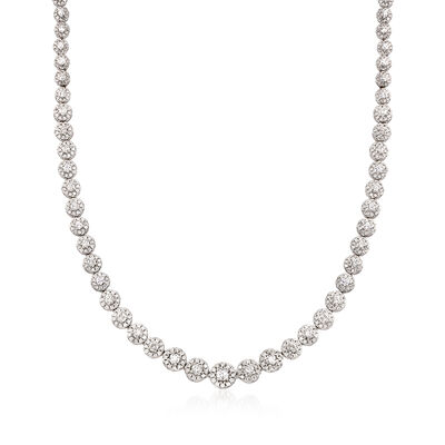 10.00 ct. t.w. Diamond Halo Necklace in 14kt White Gold, , default