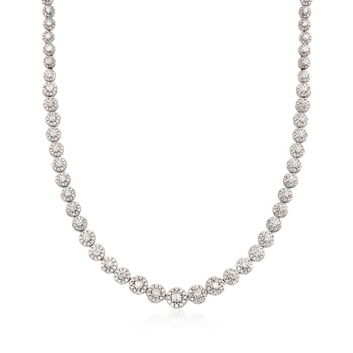 10.00 ct. t.w. Diamond Halo Necklace in 14kt White Gold