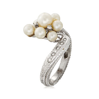 C. 1970 Vintage 4-6mm Cultured Pearl and .20 ct. t.w. Diamond Cluster Bypass Ring in 14kt White Gold. Size 7.5