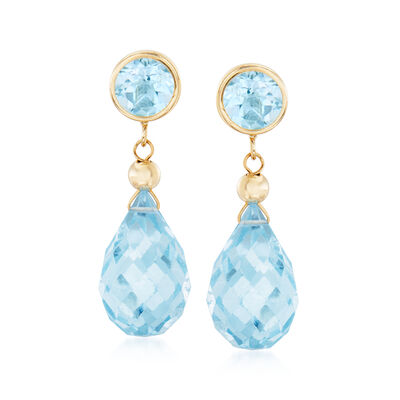 13.20 ct. t.w. Blue Topaz Drop Earrings in 14kt Yellow Gold, , default