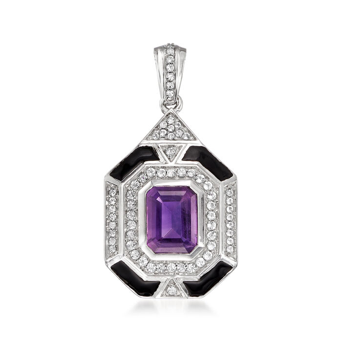 2.10 Carat Amethyst, .40 ct. t.w. White Topaz and Black Enamel Pendant in Sterling Silver