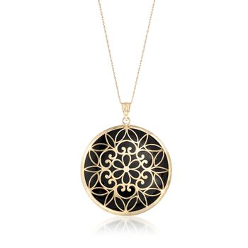 """Black Onyx Pendant Necklace in 14kt Yellow Gold. 18"""", , default"""
