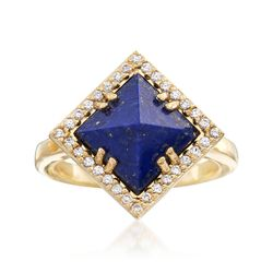 Lapis and .40 ct. t.w. White Topaz Ring in 18kt Yellow Gold Over Sterling Silver, , default
