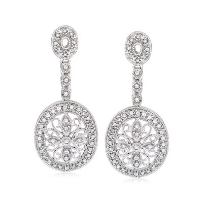 .66 ct. t.w. Diamond Floral Drop Earrings in Sterling Silver