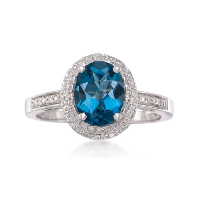 1.80 Carat London Blue Topaz Ring in Sterling Silver