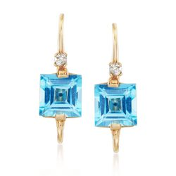 3.00 ct. t.w. Blue Topaz Drop Earrings With Diamond Accents in 14kt Yellow Gold , , default