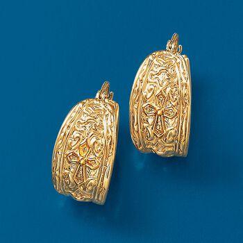 """14kt Yellow Gold Textured Hoop Earrings. 7/8"""", , default"""